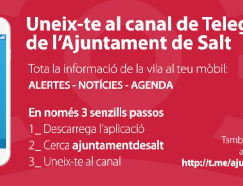 Uneix-te el canal de telegram del Ajuntament de salt
